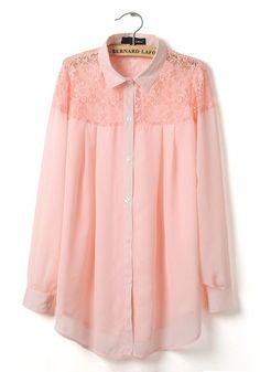 Pink Patchwork Irregular Lace Lapel Chiffon Blouse ~~