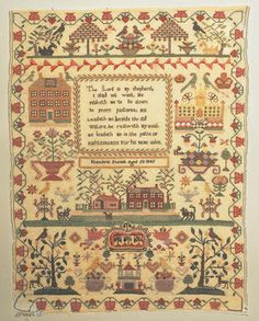 """A Victorian Sampler, vibrantly worked with a riotous composition of spot motifs, including crowns, flowering jardineres, trees, animals, five houses and a trailing floral and strawberry border, a central verse """"The Lord Is My Shepherd"""" is neatly worked with the inscription """"Elizabeth French, Aged 50, 1845"""" below, vilene backing, a few holes and damage to the bottom left corner."""