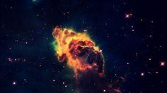 Orange Nebula Stars Computer Background