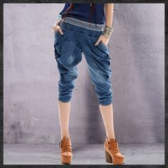 2015Women Jeans Yuzi New Vintage Denim Harem Pants Blue Washed Stretchy Middle Waist Capris For Women X3508 Calca Jeans Feminina - http://www.freshinstyle.com/products/2015women-jeans-yuzi-new-vintage-denim-harem-pants-blue-washed-stretchy-middle-waist-capris-for-women-x3508-calca-jeans-feminina/
