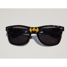 To The Batcave!- Batman Inspired Black Wayfarer Sunglasses With Yellow... ($20) ❤ liked on Polyvore featuring accessories, eyewear, sunglasses, glasses, batman, wayfarer style sunglasses, logo glasses, silver glasses, gray sunglasses and silver sunglasses