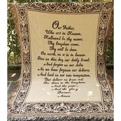 """Brown """"Lord's Prayer"""" Religious Floral Border Fringed Two-Layer Jacquard Throw Blanket X - 31366731 Jacquard Loom, Words Of Comfort, Cotton Blankets, Floral Border, Tapestry Weaving, Bed Throws, Prayers, Lord's Prayer"""