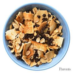 Mini pita chips + soy nuts + mini chocolate chips