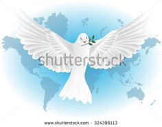 White pigeon vector and map world background/Elements of this image furnished by NASA - stock vector