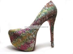 Christian Louboutin Glitter Daffodile Brodee 160mm Colorful Sequin Platform Pumps