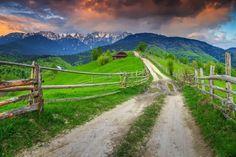 Transylvánia Transylvania Romania, Green Fields, Snowy Mountains, Royalty Free Stock Photos, Around The Worlds, Country Roads, Europe, Landscape, Nature