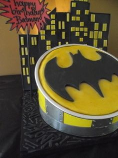 custom dog cake for a dog named Batman. Cake had a real light up bat signal that projected up over the skyline backdrop onto the wall. By Bubba Rose Biscuit Co. Batman Signal, Batman Wallpaper, Dog Cakes, Occasion Cakes, Superhero Logos, Birthday Cakes, Light Up, Biscuit, Dogs And Puppies