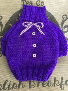 XXSmall hand knit Purple puppy dog sweater jumper coat (raglan sleeved) by DogzPawz on Etsy