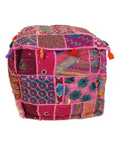 Furniture Frugal Bohemian Embroidered Patchwork Cotton Footstool Indian Ottoman Pouffe Cover Art
