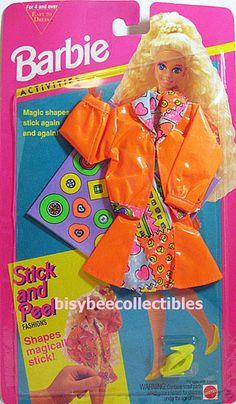 ~1994 Barbie Fashion ACTIVITIES STICK AND PEEL Bright Orange Jacket Dress 11936