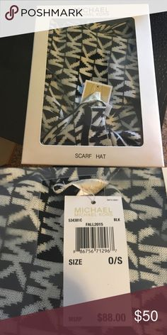 Michael Kors scarf and hat set Never opened Michael Kors matching hat and scarf set. Black color with the signature MK design throughout. Perfect for a gift to you or anyone else! Michael Kors Accessories