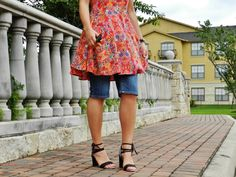 Girly in Red | Kind Distinction http://www.kinddistinction.com/girly-in-red/  #fashion #style #bloggers #red #printdress #heels #laceupsandals #summerstyle #summer
