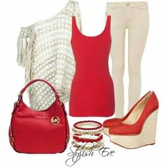 Jean outfit - love the colors and the shape of the red tank