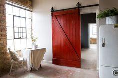 Vintage Industrial Spoked European Sliding Barn Door Closet Hardware set by TheWhiteShanty on Etsy