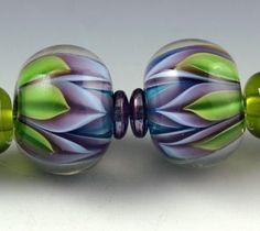 Andie's Glass - Bloom Series - Double Leaf Encased - Twin Earring Set <3<3<3SO PRETTY<3<3<3 @