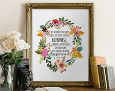 Printable Quote Bible Verse Floral Sign by PrintableVerses on Etsy