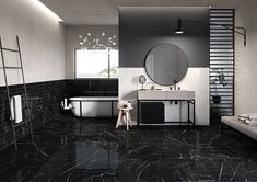Cascade is a black marble look porcelain tile from Eco Friendly Tiles. Achieve a marble look without the environmental implications of naturally mined marble. This stunning tile is supported with an EPD, is slip rated and available in a range of sizes. Kitchen Wall Tiles, Bathroom Floor Tiles, Bathroom Wall, Tile Floor, Digital Decorations, Polished Porcelain Tiles, Marble Effect, Black Marble, Terrazzo