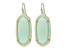 Kendra Scott Gold Chalcedony Translucent Glass Elle Dangle Earring Jewelry New