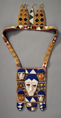 Africa | Beaded bag from the Yoruba people of Nigeria | Beads, thread and cloth