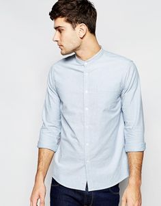ASOS Oxford Shirt In Blue With Long Sleeves And Grandad Collar