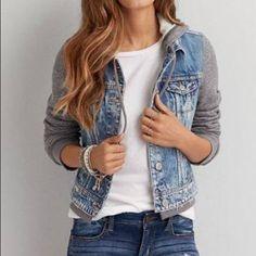 a3db7b606210f AEO Denim Jacket with Hood Worn maybe three times. Soft denim jacket with  sweater-