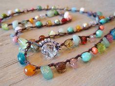 "Colorful crochet necklace ""RainBow Splash"" Multi colored semi precious stone & glass bohemian jewelry, red, aqua, spring boho chic by slashKnots  on Etsy"