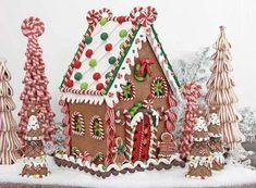 Gingerbread house ideas: ribbon candy trees… So this is pretty, but I know I'd never have enough patience not to mention enough craftiness to make it, lol!
