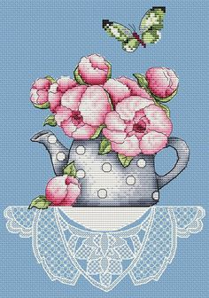 Pink peony in tea pot flower floral rose cross stitch pattern