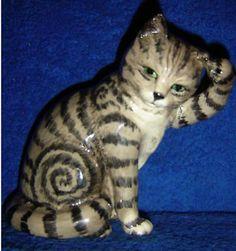 """BESWICK GREY SWISS ROLL CAT.""""CAT SCRATCHING EAR"""""""