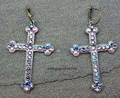 Get 10% off by using the discount code GUGREPKCAR at www.gugonline.com! Topaz Iridescent Crystals on Bronze Cross Earrings