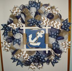 Anchor with Rope Burlap and Mesh Wreath by StarlightWreaths