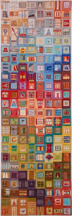 People's Choice Award    Erin M. Wilson  Miscellany ©EW  20 by 61  Cotton, dye; machine pieced and quilted    Artist's Statement: Once in a while, it is good to make something of the leftovers. This quilt continues a series focusing on spontaneous design, small scale piecing, and the stories that emerge from abstract compositions of color and shape.