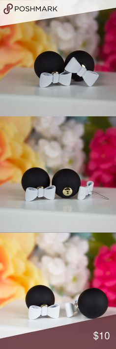 White Bow Earrings That top you've been dying to wear and the White Bow Black Ball Back earrings are sure to be a perfect match! Matte Black Ball backing with a white bow front for a classy finish.   • Gold Plated Stud Earring • Photos taken by me / Unedited / No filter  . Jewelry Earrings