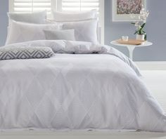 The Rocher Heather Cotton Sateen Quilt Cover Set Queen by Designers Choice creates a calm and sophisticated bedroom setting. It features print design of understated diamond pattern in colour palette of white, grey, purple, and taupe. Sofa Bed With Storage, Bedroom Storage, Hallway Furniture, Living Room Furniture, Sophisticated Bedroom, Linens And More, Queen Size Quilt, Quilt Cover Sets, Kid Beds