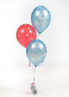 Birthday balloons arrangement with ribbon and a weight 40th Birthday Balloons, 40th Birthday Parties, Boy Birthday, Balloon Shop, Balloon Arrangements, Balloon Bouquet, Birthday Photos, Christmas Bulbs, Ribbon