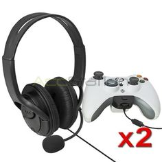 2 Packs BLACK Live Headset Headphone With Microphone for XBOX 360 Slim US NEW