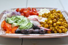 Shaved Greek Salad with Spiced Chickpeas