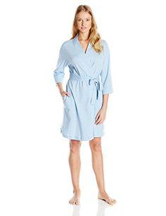 0ed28909a4e Jockey Women s Robe Three quarter-sleeve robe featuring side pockets and  self-tie at waist Inner tie at waistband length