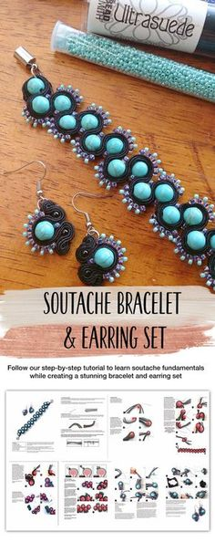 Learn Soutache Tutorial - Follow our step-by-step tutorial to learn soutache fundamentals while creating a stunning bracelet and earring set