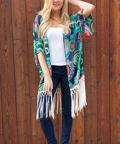 This White Mark Navy & Green Fringe Open Cardigan by White Mark is perfect! #zulilyfinds Cute  $  19.99