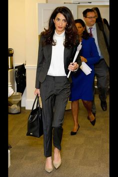 23 Times Amal Clooney Absolutely Nailed The Corporate Chic Brief What to wear to work: office outfit ideas courtesy of Amal Clooney, human rights lawyer and new mum. Office Attire, Office Outfits, Office Wear, Stylish Outfits, Office Uniform, Work Outfits, Amal Clooney, Lawyer Fashion, Office Fashion