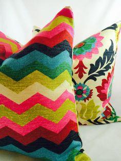 Waverly Santa Maria Desert Flower & Panama Wave Pillow slipcover with insert