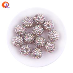 R171 Free Shipping Rhinestone Color 20MM 100Pcs Chunky Rose Shinny Rhinestone Ball Beads For Chunky Kid Necklace Jewelry #Affiliate