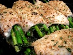 Chicken rolls with asparagus and mozzarella. Anything with cheese is good by me plus it sounds easy.