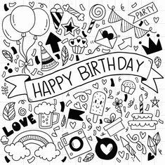 Collection of birthday decoration element Party Doodle, Birthday Doodle, Birthday Badge, School Birthday, Birthday Cards, School Coloring Pages, Happy Birthday Love, Doodle Lettering, Sketch Notes