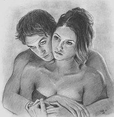 My art! @Art_by_AS #NinaDobrev #IanSomerhalder #DamonSalvatore #ElenaGilbert…