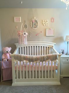 Love her crib & decor! Gray, cream & pink. Beautiful!