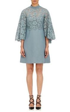 VALENTINO Lace-Cape Shift Dress. #valentino #cloth #dress