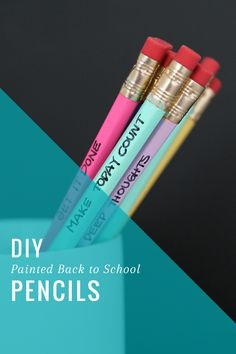 DIY Painted Back-to-School Pencils | HelloNatural.co  #backtoschool #officesupplies
