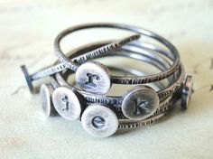 Stacked Initial Rings  Sterling Silver Set of by FruitionJewelry, $105.00